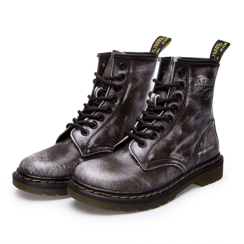 323418e469 US $11.64 75% OFF|LAKESHI Genuine Leather Women Boots Dr Ankle Boots Winter  Work Safeti Boots Solid Ankle Boots Female Punk Women Shoes Size 46-in ...