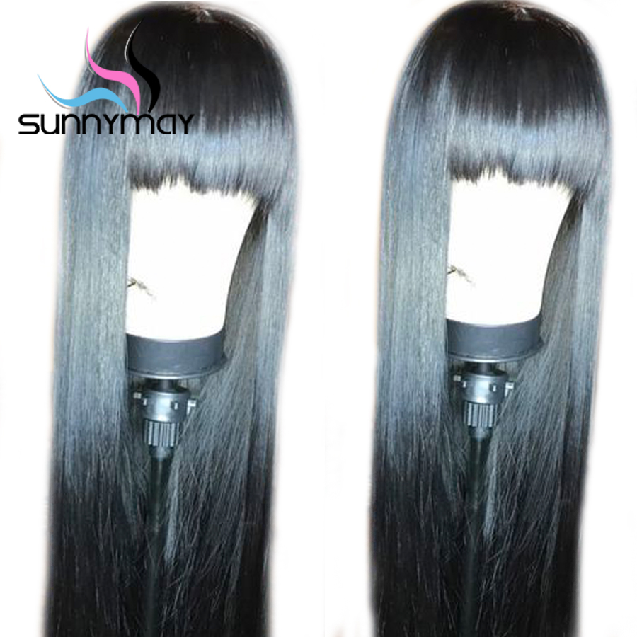 Sunnymay Hair Straight Lace Front Wig With Bangs Glueless Lace Front Human Hair Wigs Pre Plucked Remy Hair Peruvian Wigs