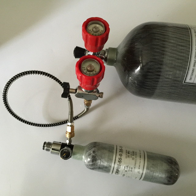 High quality 4500psi 6.8l composite carbon fiber cylinder and 0.35l carbon fiber cylinder with valve and regulator