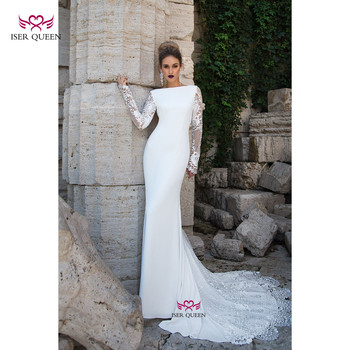 Elegant Beach Wedding Dresses Long Sleeves with Embroidery Boat Neckline Pure White Lustrous Satin Mermaid bridal Dress 0615