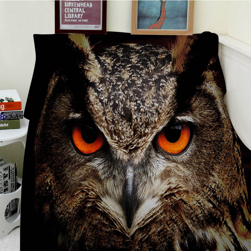 Super Soft Blankets Plush Machine Wash Brown Brown Owl Orange Eyes Sofa Bed Throw Cobertor Kids