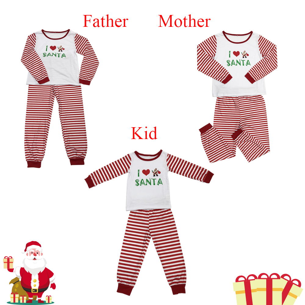 Pink Stripe Christmas Father Mother Kid Family Matching Clot