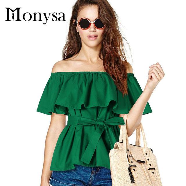 Hombro Mujeres Tops Y Blusas 2016 Nueva Moda Volantes Camisas de Algodón Mujeres de Talla grande Ropa de Verano Verde Negro