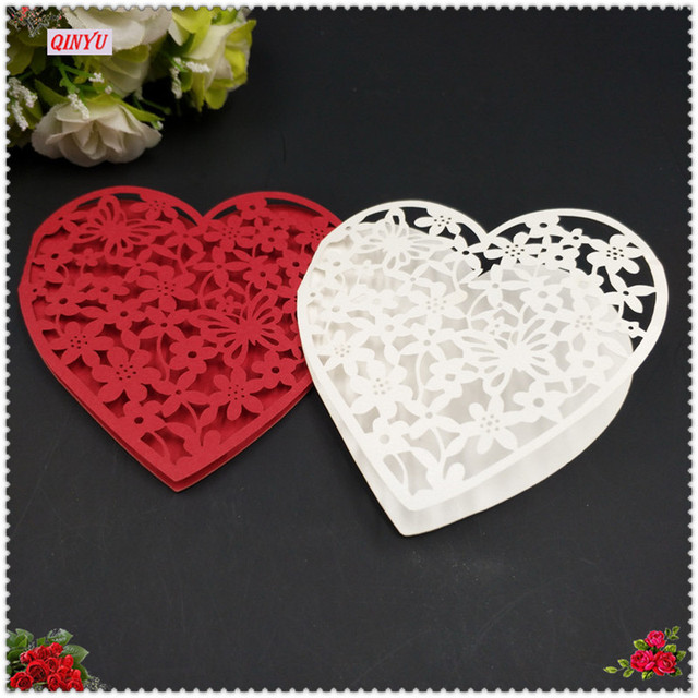 Two Layers Cardboard Hollow Design Heart Laser Cut Paper Cup Card
