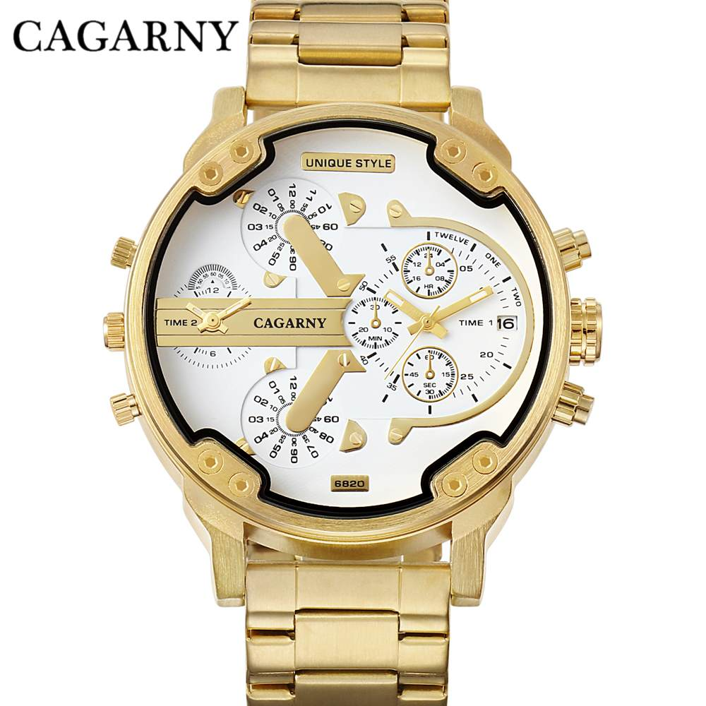 CAGARNY Top Brand Man Watches Gold Steel Strap Wristwatches Male Gifts Fashion Big Dial Hot Sale Military Quartz Watches NATATE
