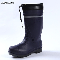 Aleafalling Workshop Rain Boots Thicken Warm Waterproof Labor Rubber Reflective Strip Men Shoes Knee High Marture PVC Boots M81