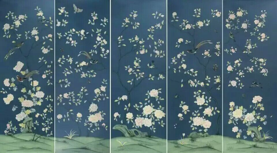 Customized Classic elegant  unique Hand-painted silk wallpaper painting painting flower with birds many arts/background optional