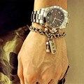 Elo da cadeia do aço inoxidável jóias desportivo de fitness dumbbell titanium do vintage carta pulseiras para homens pulseira de energia para as mulheres