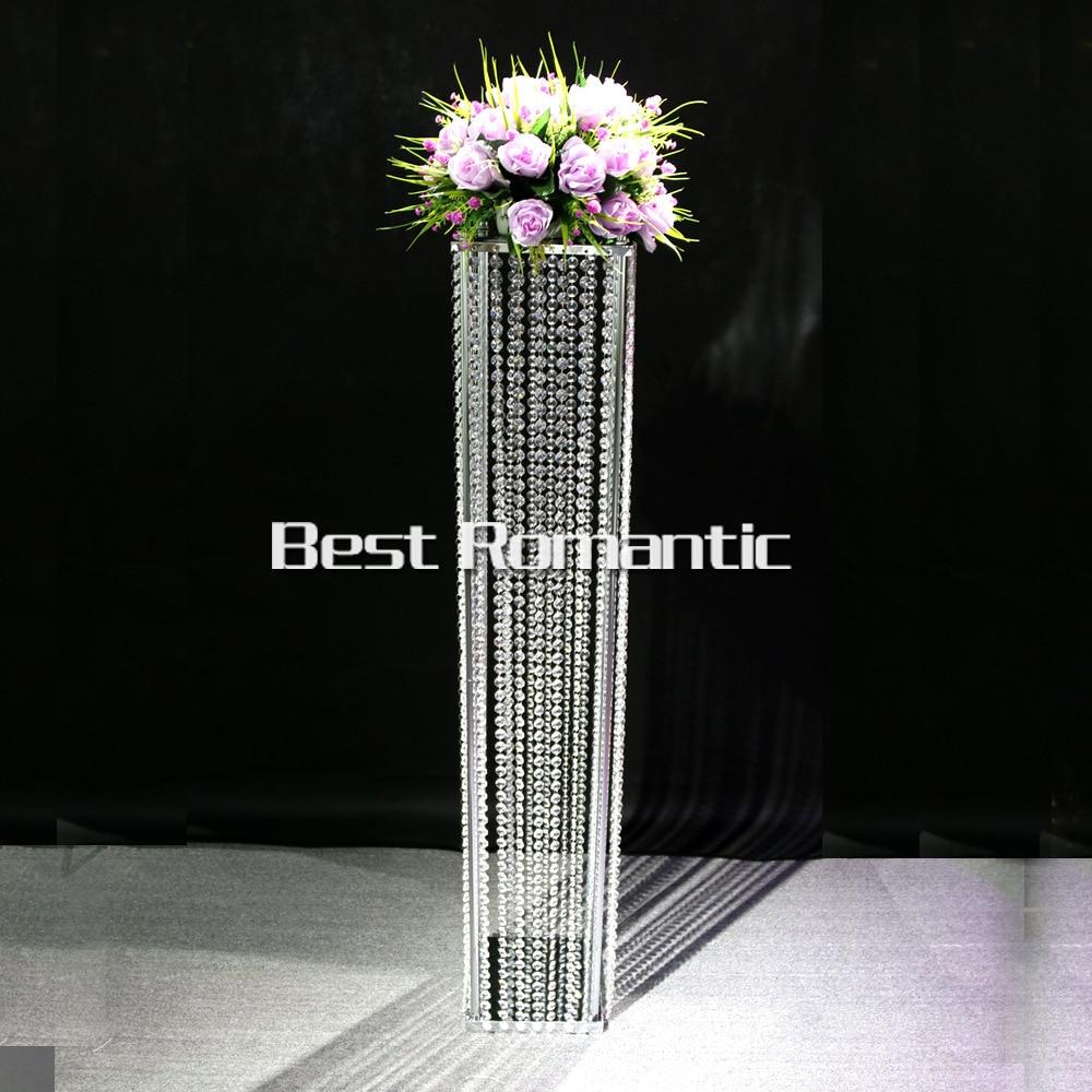Tall120m / 10ks Lot / K9 Square Křišťálový svatební stojan / Svatební sloupek / svatební silniční olovo Tall Acrylic Crystal Centerpiece