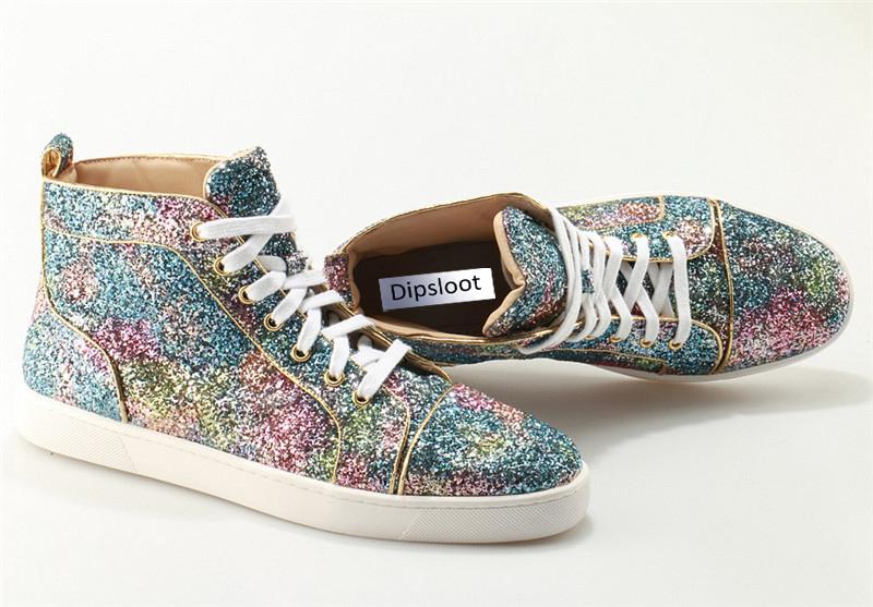 Spring Bling Unisex Sneakers Shiny Multi Gradient Sequins High Top Women  Flats Shoes Lace Up Shoes Men Glitter Casual Shoes -in Women s Flats from Shoes  on ... 14869f7163a2
