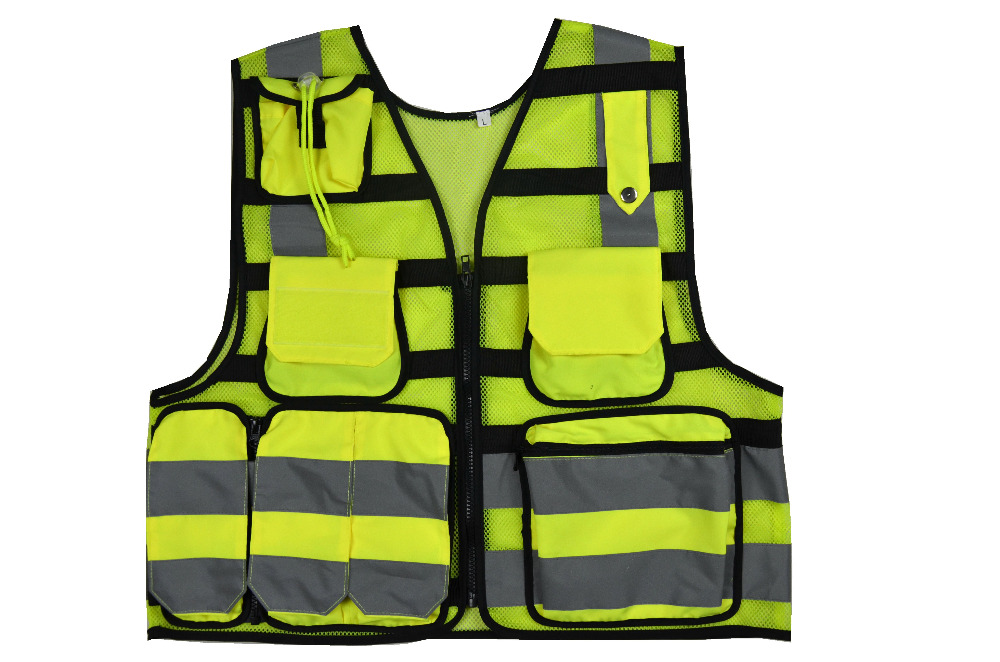 High Visibility Reflective Men Women Breathable Safety Vest with Pockets Traffic Protective Workwear fluorescence yellow high visibility