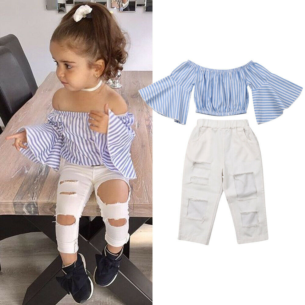 Toddler Little Girls Striped Ruffle Flare Sleeve Off Shoulder Tube Tops + Hole Ripped Pants Summer Outfit 2Pcs Clothing Set