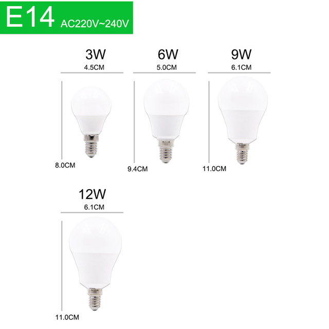 10pcs LED Bulb Dimmable Lamps E27 E14 AC220V 240V Light Bulb Real Power 20W 18W 15W 12W 9W 6W 3W Smart IC Lampada LED Bombilla