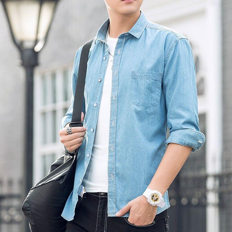 2019 Casual Denim Shirt Men Long Sleeve Luxury Big Size  Cotton