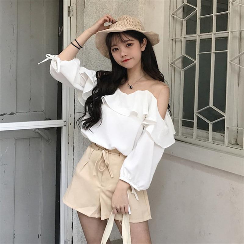 Vêtements Femmes Dentelle Bretelles Chemise Blouses bourgogne O Coréenne Mode Volants Et Noël Blanc Chemises De Tops Cou Casual Sexy qxIrRXIz