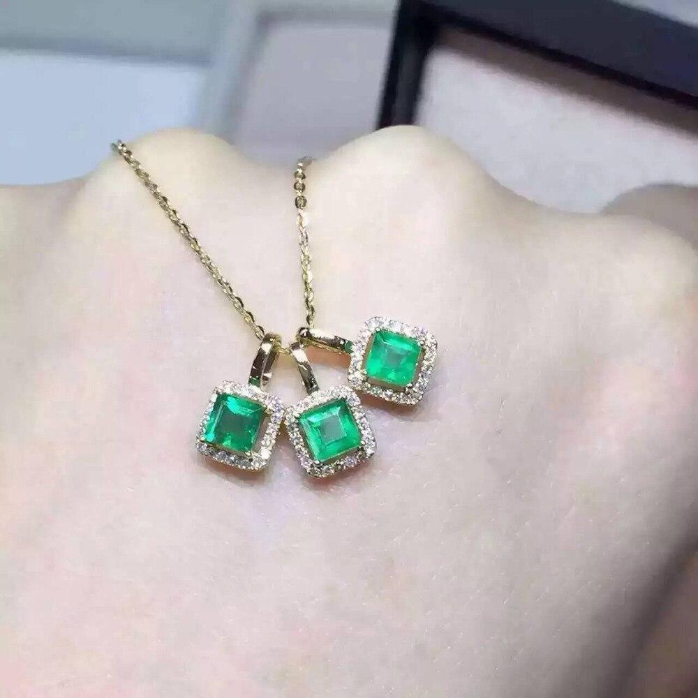 Naturel vert émeraude pendentif S925 en argent Sterling naturel pierre gemme pendentif collier à la mode petite place femmes fille bijoux
