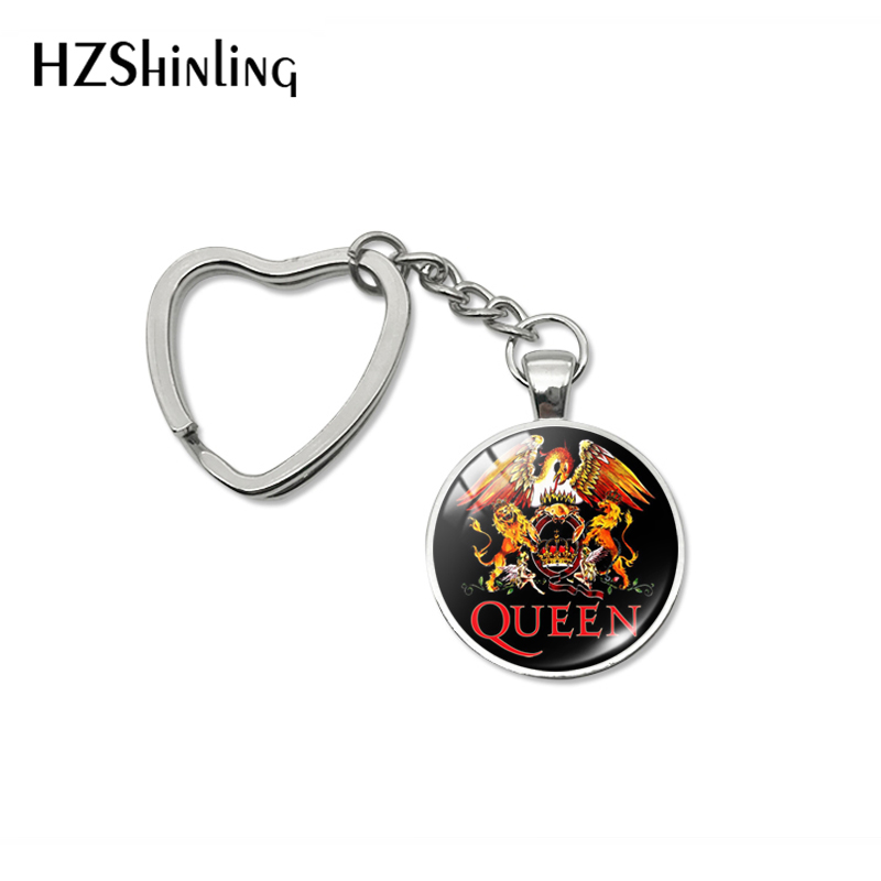 2019 New Design Rock Band Queen Heart Keychains Fashion Pins Queen Band Musician Jewelry Car Bag Hold Keyrings For Men Women