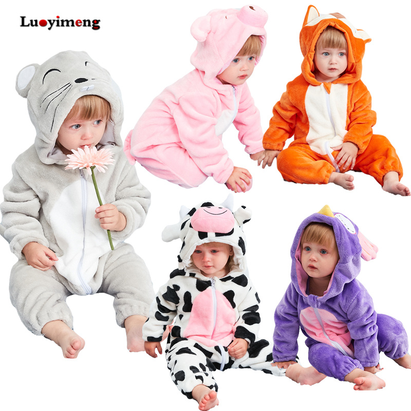 Cute Animal Hooded Baby Rompers For Babies Boys Girls Clothes Newborn Clothing Toddler Jumpsuit Infant Costume Baby Outfit Bebes free shipping winter newborn infant baby clothes baby boys girls thick warm cartoon animal hoodie rompers jumpsuit outfit yl