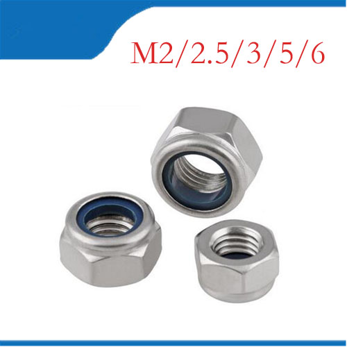 1Bag DIN985 M3 M4 M5 M6 304 Stainless Steel Nylon Self-locking Hex Nuts Locknut Slip Lock Nut HW020 гайка самостопорная din985 m6 16шт