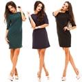 2017 Весна новых женщин способа прямой dress casual о-образным вырезом Половина рукавами назад ряд кнопок dress элегантный партия vestidos