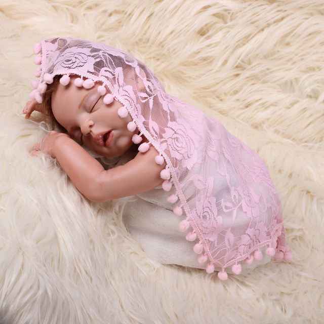 Newborn photography prop blanket wrapped hot sell stretch tassel lace wrap baby newborn photo props rayon