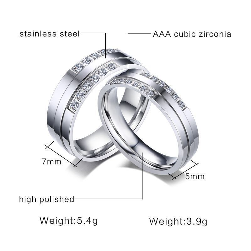 52e45cc2f6 Aliexpress.com : Buy Bling CZ Wedding Rings for Women Man Never Fade Color  Stainless Steel Engagement Alliance Cherish Love Jewelry from Reliable  Wedding ...