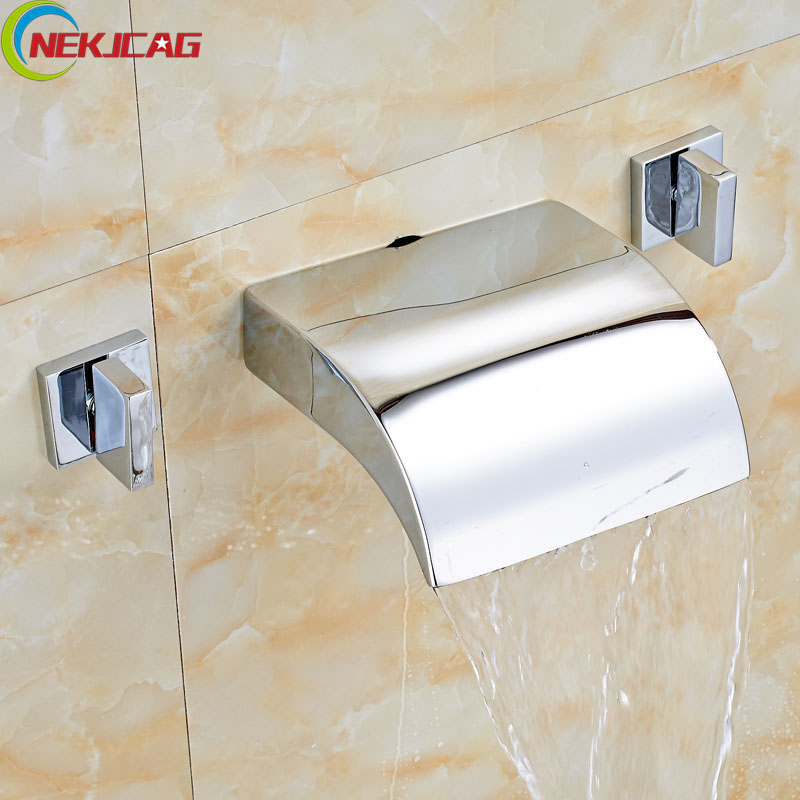 Modern Dual handle Brass Waterfall Bath Sink Basin Mixer Taps Wall Mounted Hot and Cold Water Washing Faucet wall mounted dual handle waterfall basin faucet brushed nickel hot and cold wash basin mixer taps