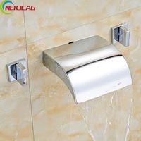 Moderne Dual handvat Messing Waterval Bad Wastafel Wastafelmengkraan Kranen Wandmontage Warm en Koud Water Wassen Kraan