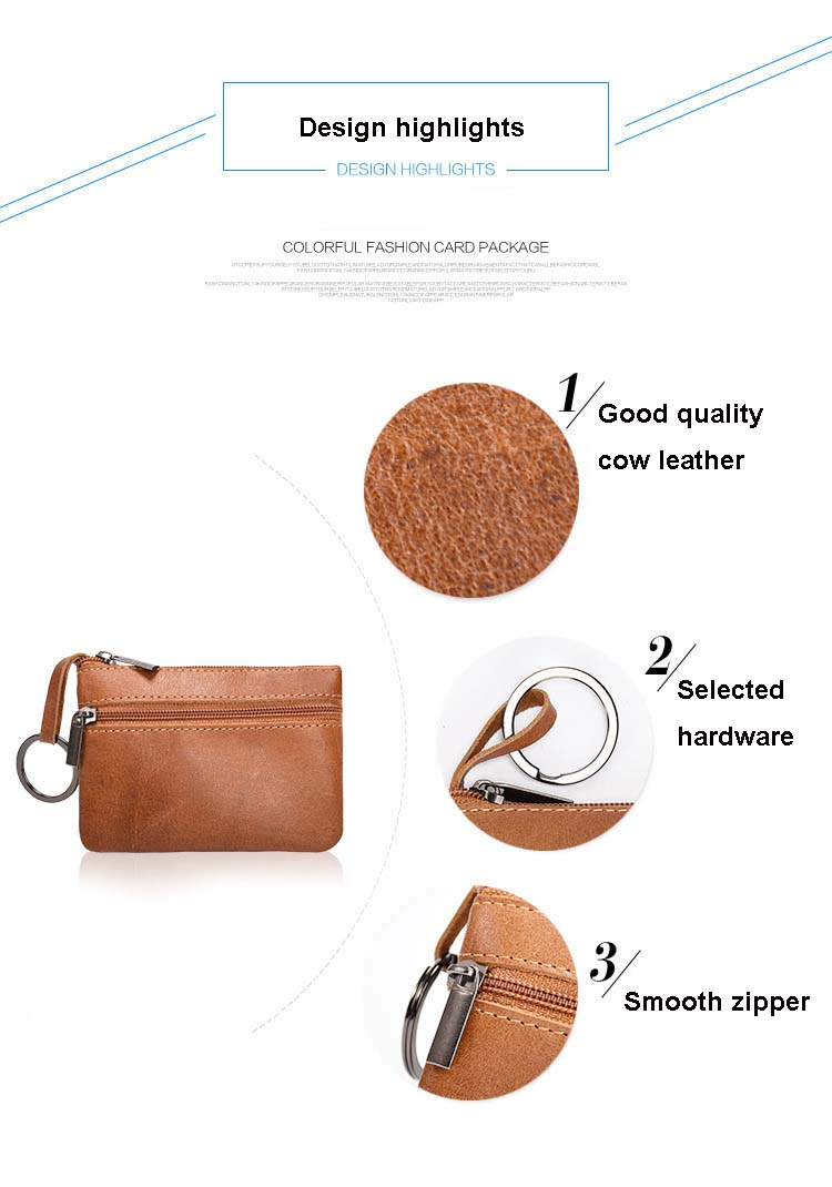 Oil Wax Leather Coin Purses Women Small Change Money Bag Men Pocket Wallet  Genuine Leather Key Holder Case Mini Pouch Zipper 40-in Coin Purses from