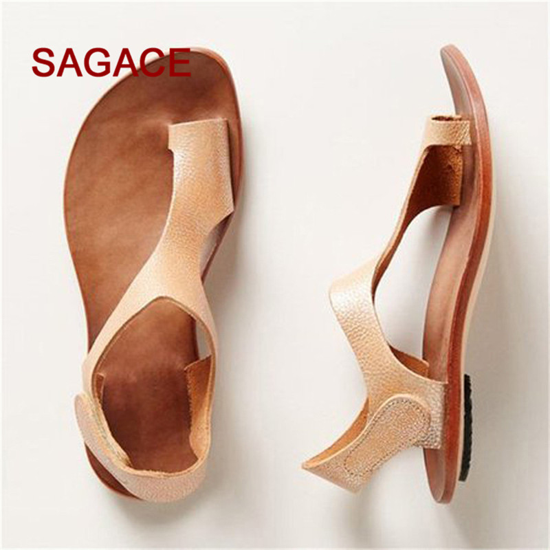 2018 SAGACE Women Summer Casual Ankle Strap Roman Flat Clip Toe Shoes Flat Sandals p# dopship sagace women ladies roman shoes buckles wedges ankle strap sandals sexy open toe peep toe sandals woman summer sandals may 18
