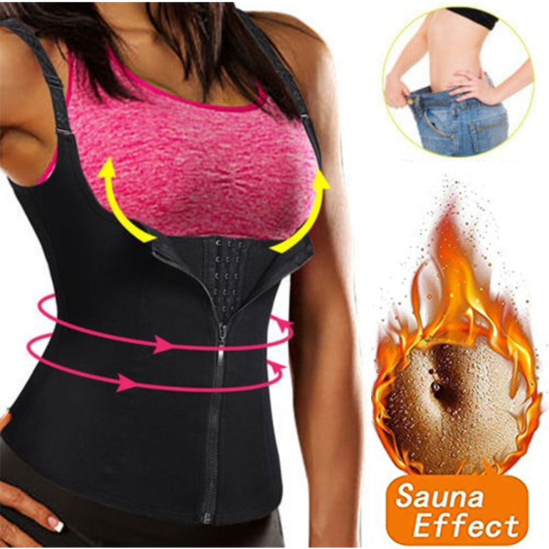 f37a57b124f Hot Shapers Neoprene Sauna Sweat Vest Waist Trainer Cincher Women Body  Slimming Trimmer Corset Workout Thermo Push Up Trainer