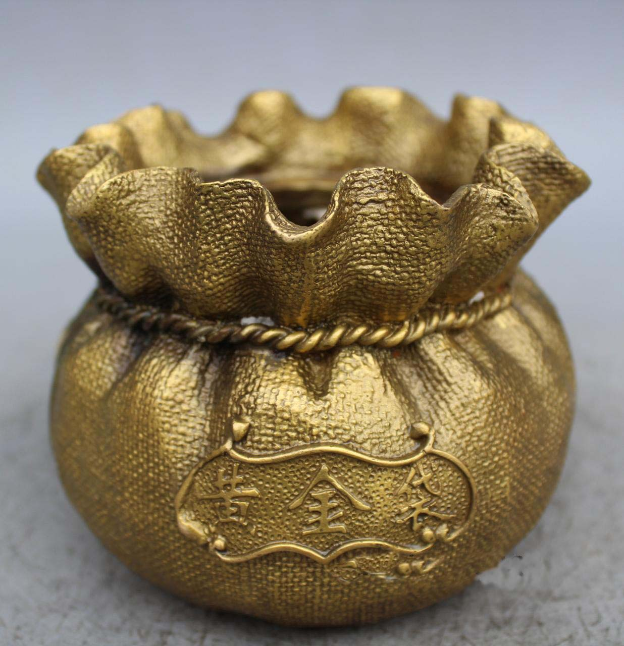 5.5Chinese brass wealth Yellow gold Bag money coin Lucky Bag statue|Statues & Sculptures| |  - title=