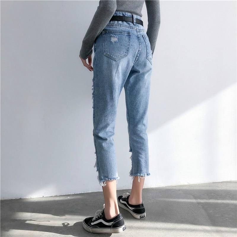 HXJJPPop Beggar Pants Spring  New Harlan Pants  Washed  Ankle-Length Pants  Moustache Effect Women
