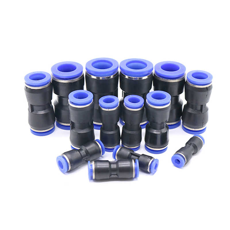 Pneumatische Fittingen Pu 4 Mm 6 Mm 8 Mm 10 Mm 12 Mm Air Waterslang Tube One Touch Straight push-In Plastic Quick Connector Tube Fitting