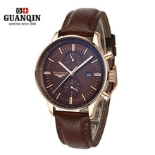 Mens Relojes de Primeras Marcas de Lujo GUANQIN Hombres Deporte Militar Calendario Luminoso Reloj de Cuero Reloj de Cuarzo relogio masculino