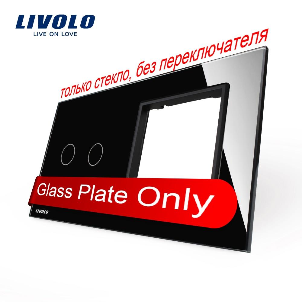 Free Shipping, Livolo Luxury Black Crystal Glass, 151mm*80mm, EU standard, 2Gang &1 Frame Glass Panel, VL-C7-C2/SR-12