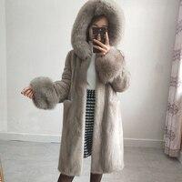 2019 New Fashion Real Natural Fur Coat Hooded High quality Fur Coat Fur Women's Coat Natural fox fur collar