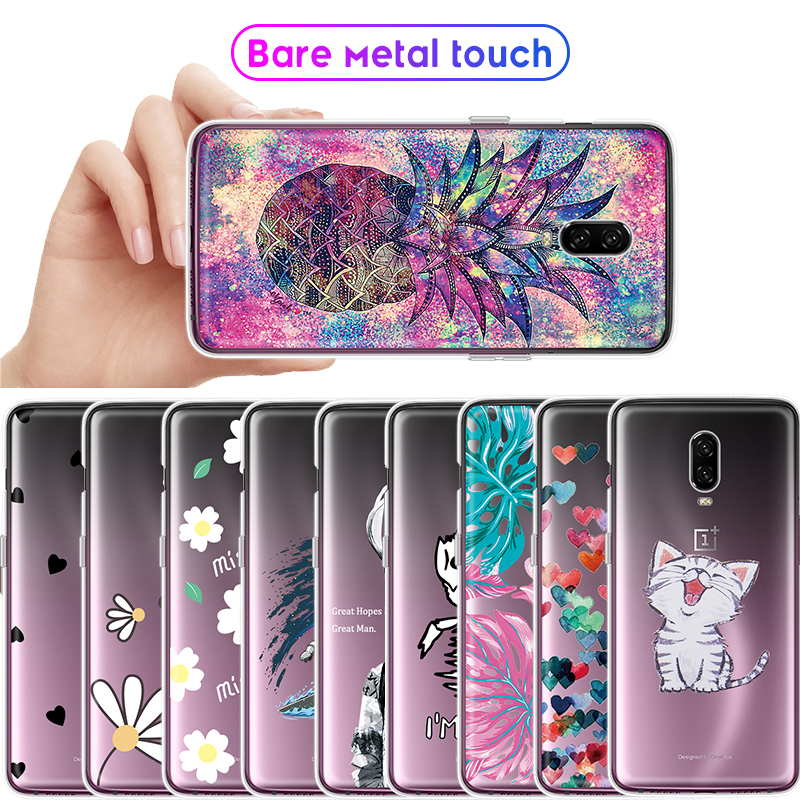 Full Protection Animals Flowers Silicone Printing Cover Bumper Capas For font b Oneplus b font 6