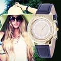 2016 Nova Genebra Relógios de Cristal das senhoras das Mulheres Pulseira Relógio de Pulso de Moda Em Aço Inoxidável relógios de Pulso de Quartzo Relojes Mujer