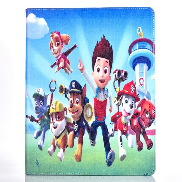 Tablet Case For Apple Ipad 6 / Ipad Air 2 Fashional PAW PATROL Prints PU  Leather