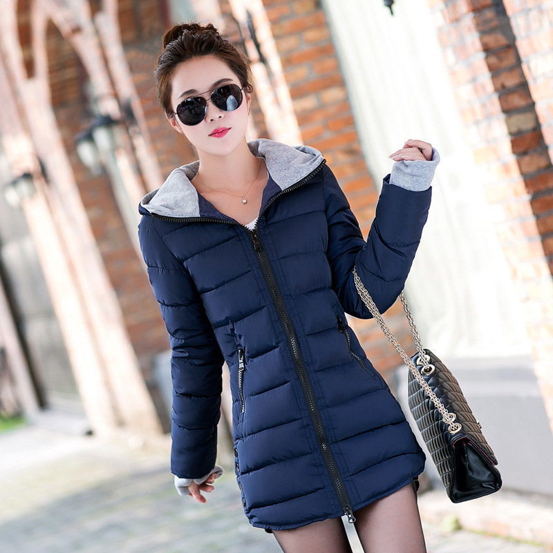 Winter Warm Cotton Coat Clothing for Women Large Size 4xl Girls Long Jacket Solid Lady   Parkas   Hooded Windbreaker Pink Overcoat