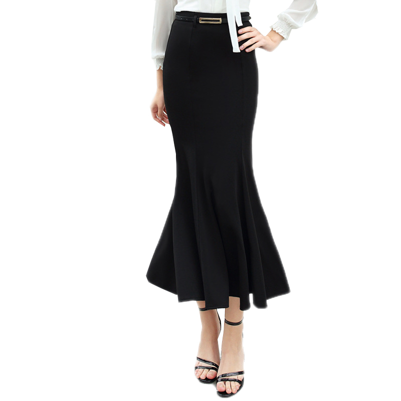 2018 Autumn Winter Women Long Mermaid Skirts With Belt Female OL High Waist Ankle-Length Fishtail Slim Maxi Pencil Skirts O347