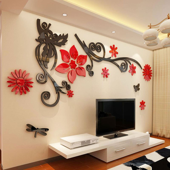 3D stereo Flower vine Acrylic Crystal Wall stickers Home Decor Diy Mirror Wall sticker Tree Living room Sofa TV Background Decal 1