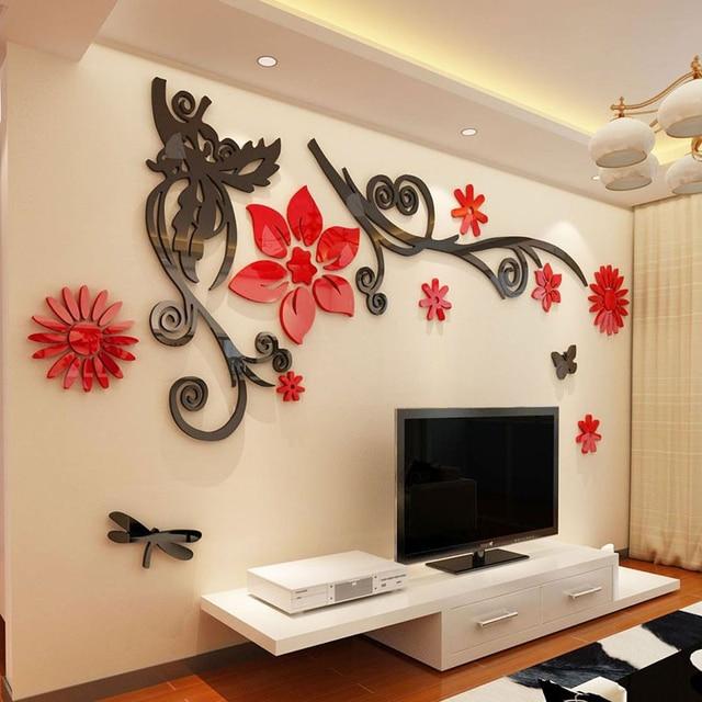 3d stereo blume reben acryl kristall wandaufkleber steuern. Black Bedroom Furniture Sets. Home Design Ideas
