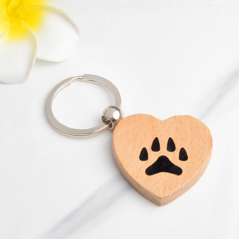 Heart Paw Keychain Dog Cat Claw Footprint Key Chains Wooden Keyring For Pet Lovers Animal Jewelry Gift Key Bag Accessories