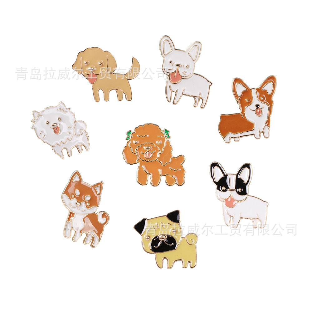1 Pcs Pudel Bulldog Mode Anime Broschen Legierung Hochzeit Pin Cartoon Brosche Abzeichen Pins Unisex Schmuck Geschenke Neue Verschiedene Stile
