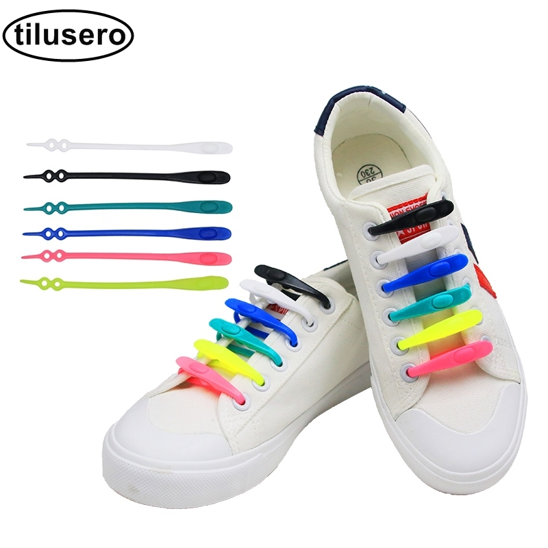 New Elastic Silicone No Tie /'Lazy/' Shoe Laces Shoelaces For Trainers Shoes