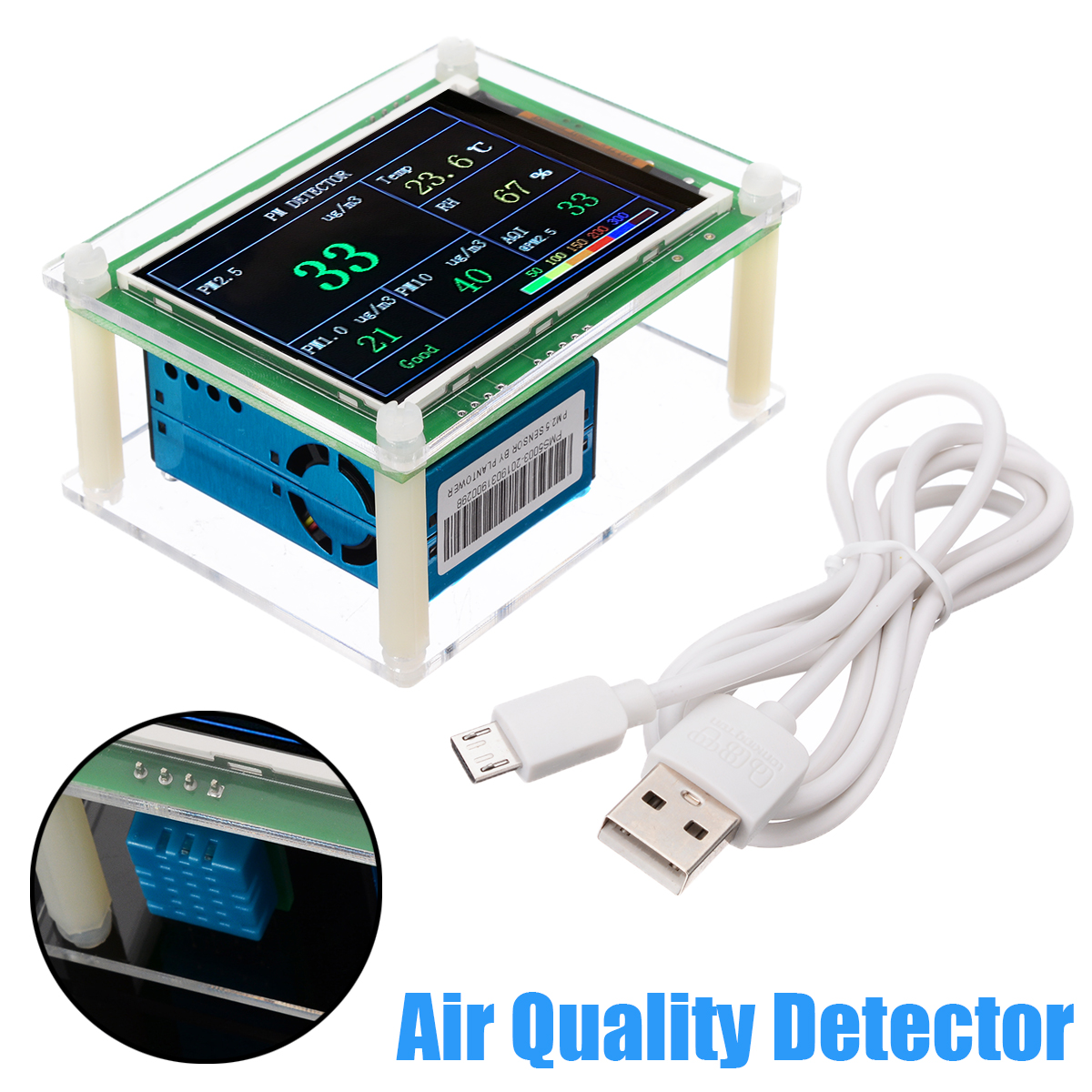 PM2.5 Detector Module DC 5V 2.8 LCD Display Air Quality Dust PM2.5 Sensor Tester Detector for Monitoring Home Office Car Tools