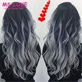 Carvão cinza e prata cabelo 1B/Gary Gery Cinza Tecer Cabelo Ombre Onda Do Corpo Peruano Extensões de Cabelo Virgem Ombre cabelo Tecer