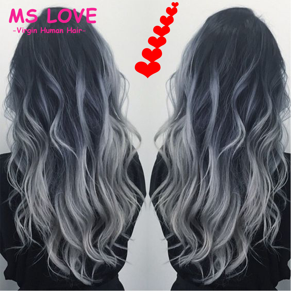 charcoal gray and silver hair 1b